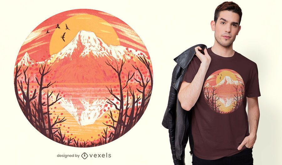 Volcano sunset t-shirt design