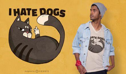 Diseño de camiseta de gato que odia a los perros.
