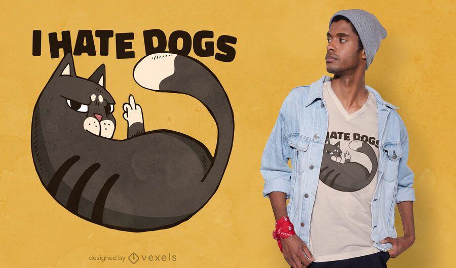 Dog hater cat t-shirt design