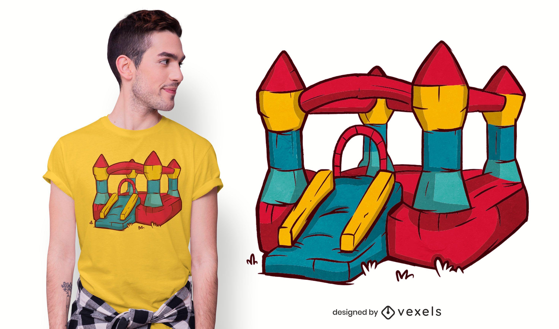 Design de t-shirt castelo insuflável