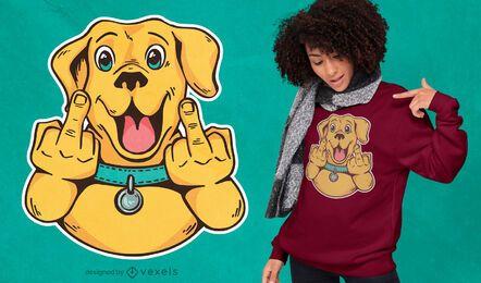 Diseño de camiseta de perro dedo medio