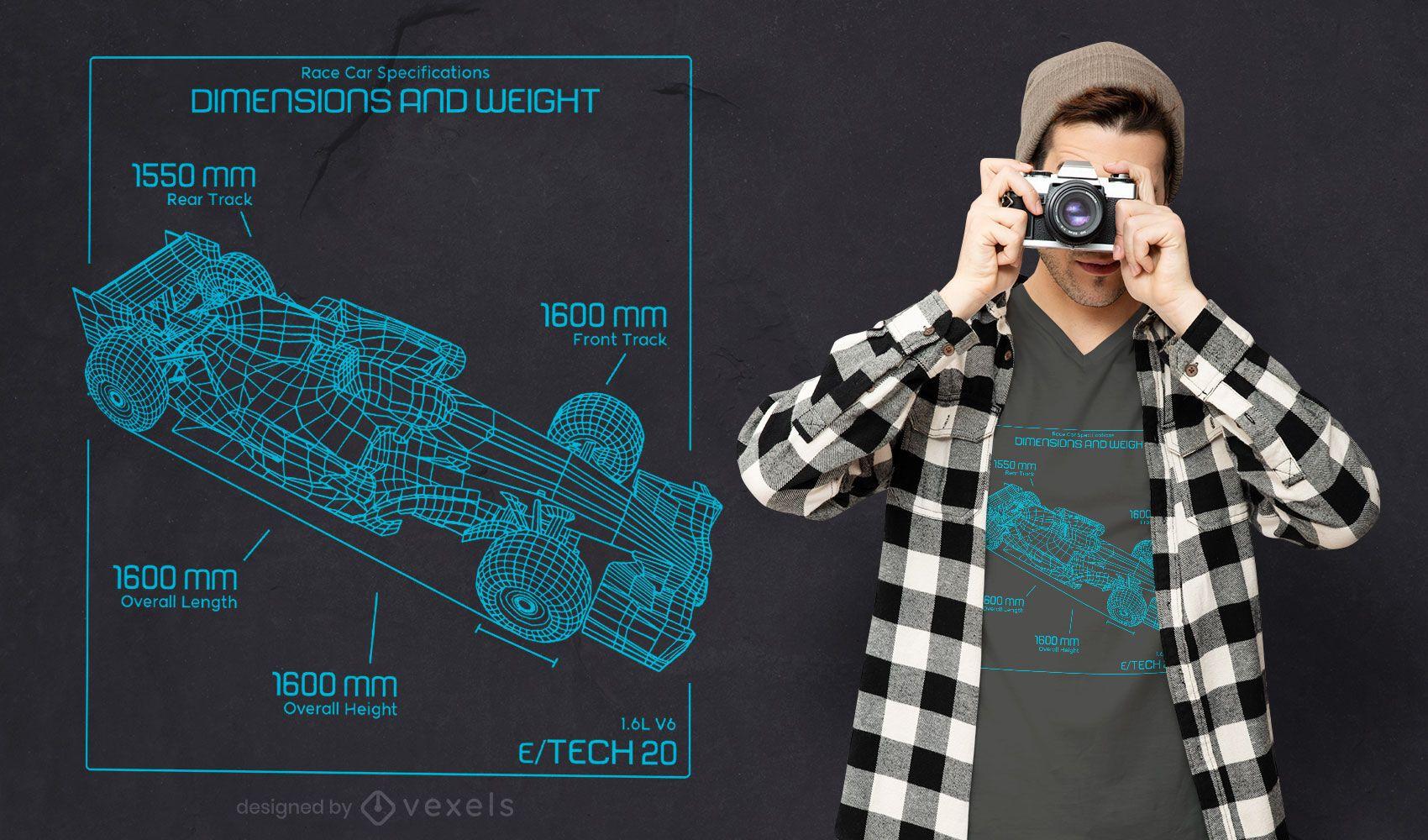 Diseño de camiseta de coche de carreras.