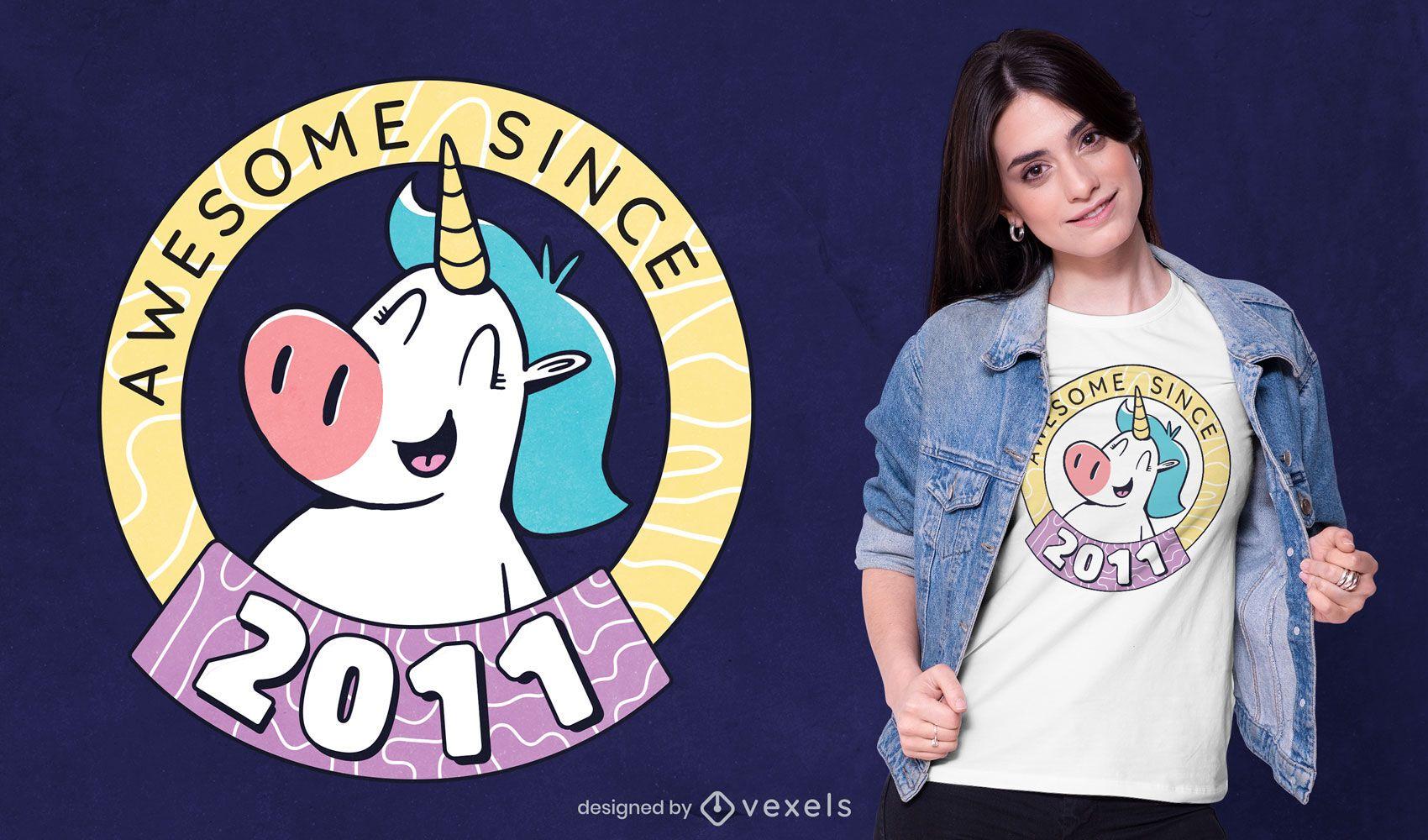 Impresionante diseño de camiseta de unicornio.