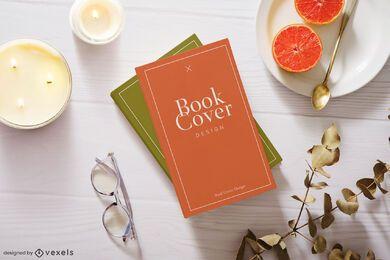 Composição de maquete de capa de livro de velas
