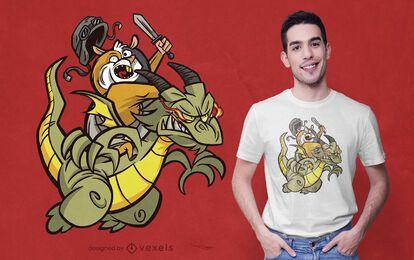 Diseño de camiseta de guerreros dragón conejillo de indias
