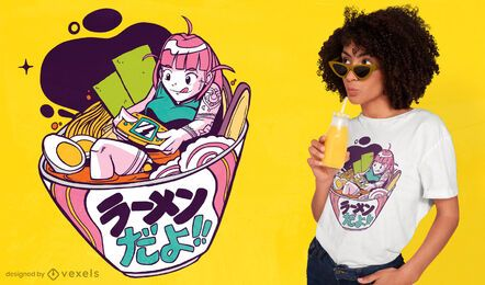 Diseño de camiseta de anime ramen gaming