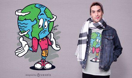 Diseño de camiseta de dibujos animados de la tierra