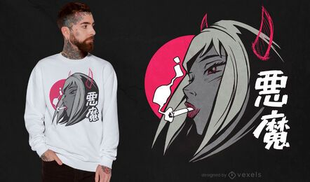 Diseño de camiseta demonio anime girl