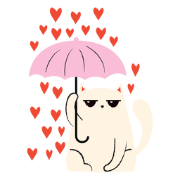 Plano de lluvia de corazón de gato