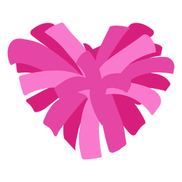 Heart-shaped pom pom flat
