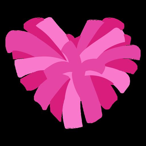 Heart-shaped pom pom flat