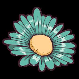 Ilustración de flor de margarita verde agua