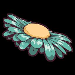 Daisy flower aqua green illustration