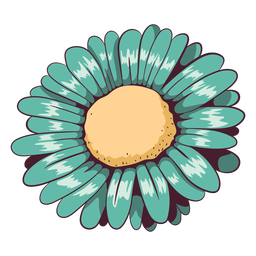 Margarita flor verde agua