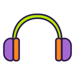 Colorful headphones flat