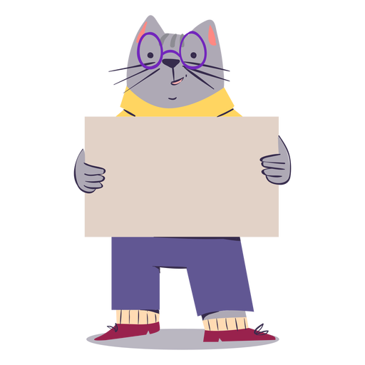Adorable cat character flat