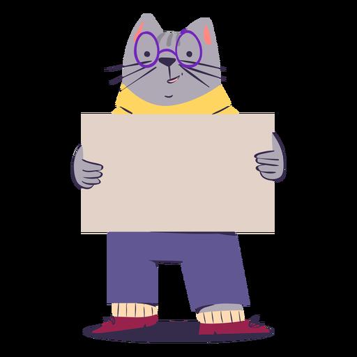 Adorable personaje de gato plano