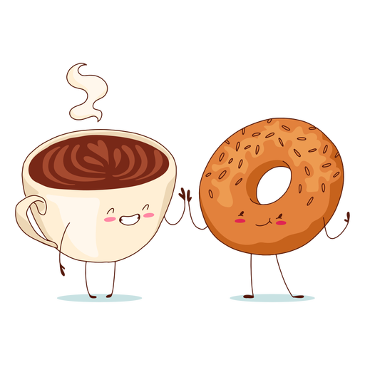 Coffee and bagel characters Transparent PNG