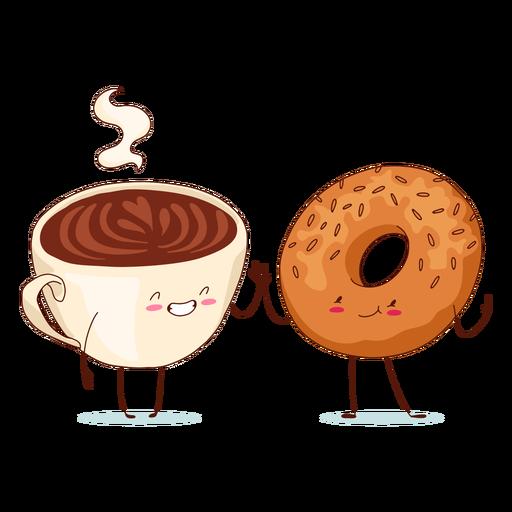 Personajes de café y bagel.