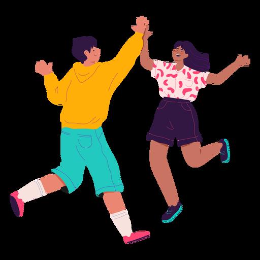Boy and girl high five