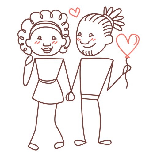 Couple holding hands doodle