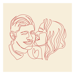 Couple's kiss continuous line label