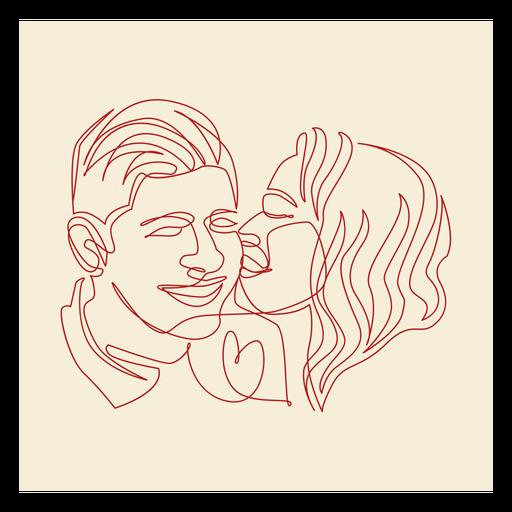 Couple's kiss continuous line label Transparent PNG