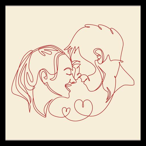 Couple's romance continuous line label