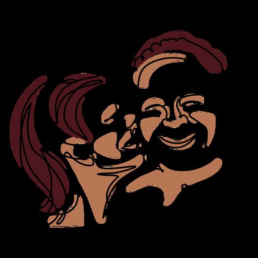 Couple's romance continuous line