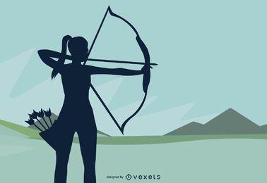 Silhueta de tiro com arco e tiro com arco