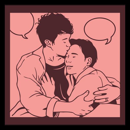 Pareja gay vintage comic pannel