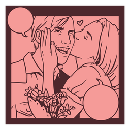 Romantic couple vintage comic pannel