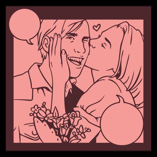 Romantic couple vintage comic pannel Transparent PNG