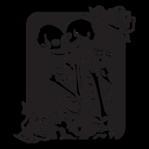 Ilustração de esqueleto amor grunge