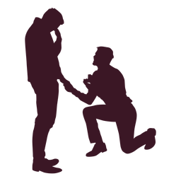 Gay couple proposal silhouette