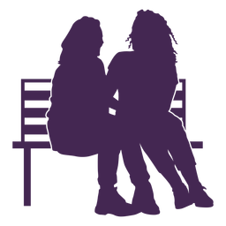 Lesbian couple bench silhouette