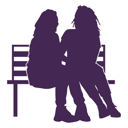 Lesbian couple bench silhouette