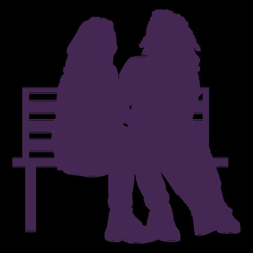 Silhueta de banco de casal lésbico