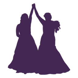 Lesbian couple marriage silhouette