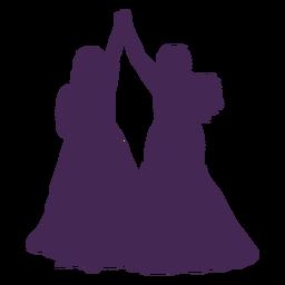 Silueta de matrimonio de pareja de lesbianas