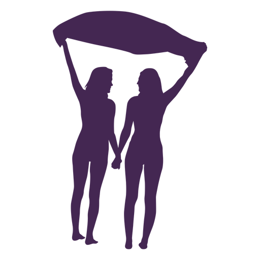Lesbian couple holding hands silhouette