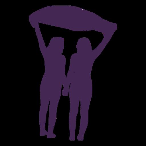 Silhueta de casal de lésbicas de mãos dadas