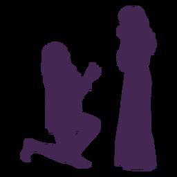 Lesbian couple proposal silhouette
