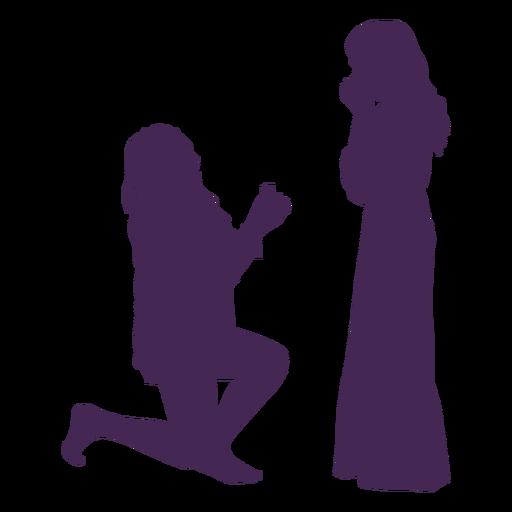 Silueta de propuesta de pareja de lesbianas