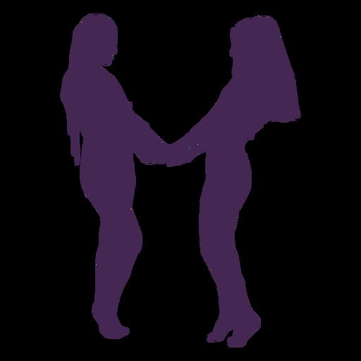 Silhueta de mãos de casal lésbico