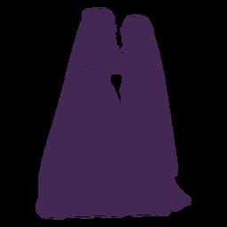 Silhueta de casal lésbico casamento