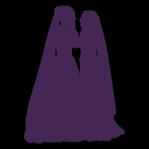 Wedding lesbian couple silhouette