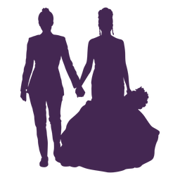 Silueta de boda de pareja de lesbianas