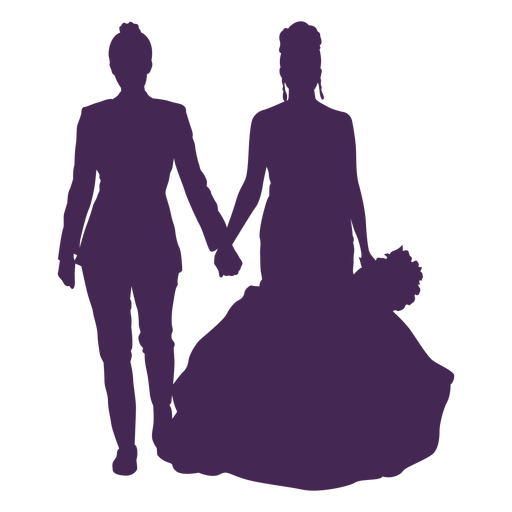 Lesbian couple wedding silhouette Transparent PNG