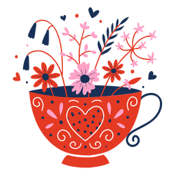 Cup of flowers flat